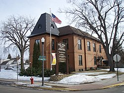 The original Isanti County Courthouse in Cambridge MN