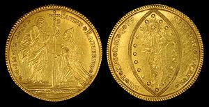 Sequin (coin) - Image: Italian States Venice (1779 89) 50 Zecchini