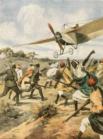 Scramble for Africa - Italian aircraft in action against Ottoman forces during the Italian invasion of Libya in the Italo-Turkish War.