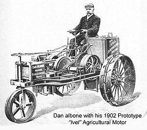 Dan Albone - Dan Albone with his 1902 prototype Ivel Agricultural Motor