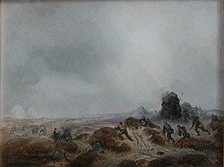 Jægere under fremrykning. 1848-1851. malet af niels simonsen, 1851