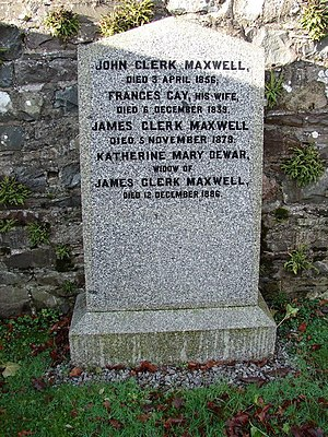 Katherine Clerk Maxwell - An image of Katherine Clerk Maxwell's grave in Parton, Dumfries and Galloway, where she is buried with her husband James Clerk Maxwell and his parents.