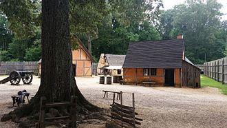 Jamestown Settlement - Recreated interior of James Fort