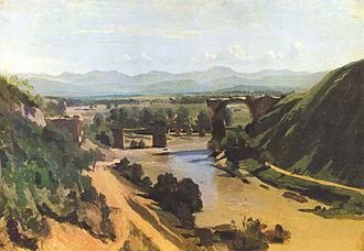 Via Flaminia - The bridge of Narni in an 1826 painting by Jean-Baptiste-Camille Corot.