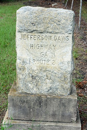Georgia State Route 32 - Image: Jefferson Davis Highway marker, Irwin County, GA, US