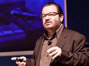 Jeffrey Zeldman - Jeffrey Zeldman onstage lecturing on modern web design at An Event Apart