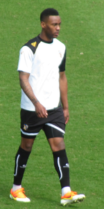Myrie-Williams warming up for Port Vale before the match against Northampton Town on 20 April 2013.