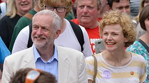 Maxine Peake - Jeremy Corbyn and Maxine Peake walking together in the procession through the village at the Tolpuddle Martyrs' Festival and Rally 2016