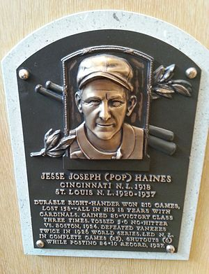 Jesse Haines - Haines' plaque at the National Baseball Hall of Fame and Museum