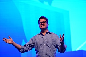 Jim Zemlin - Jim Zemlin shares a keynote speech onstage at LinuxCon China in Beijing, 2017