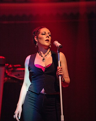 Joanne Catherall - In concert with The Human League at Paradiso, Amsterdam, Netherlands in April 2011