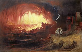 Bombing of Hamburg in World War II -  Artist John Martin's concept of the Biblical destruction of Sodom and Gomorrah, which inspired the operation's name