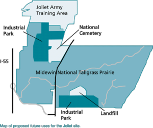 Joliet Army Ammunition Plant - Proposed redevelopment of Joliet Arsenal, February 2002. Drawn with North at the top, the arsenal was bisected by Illinois Route 53 with Kankakee Ordnance Works in the west portion and Elwood Ordnance Plant on the east.