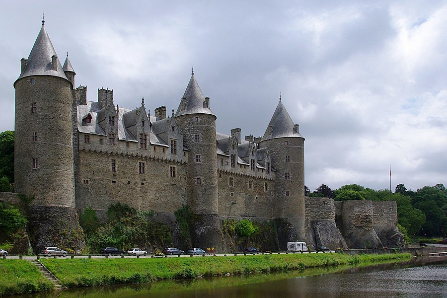 SW facade of the Rohan family's castle, Josselin, Morbihan, France.