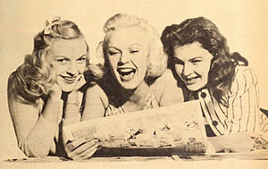 June Haver - Haver (center) with her sisters shortly after moving to Hollywood, 1946