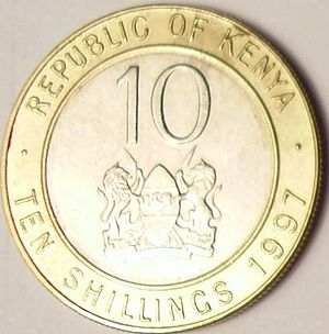 Coat of arms of Kenya - The coat of arms on the back of a 10 Kenya shilling coin