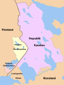 Karte vom heutigen Karelien