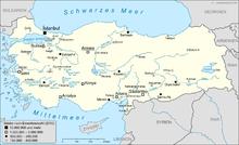 Mappa indicante le città più popolose della Turchia.