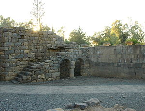Katzrin ancient village and synagogue - Reconstructed arches in a section of the ancient village