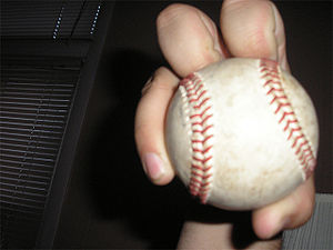 Front view of a knuckleball grip.