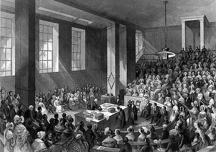 Prize-giving day in 1841 King's College, London; the interior of the theatre on prize Wellcome L0007544.jpg