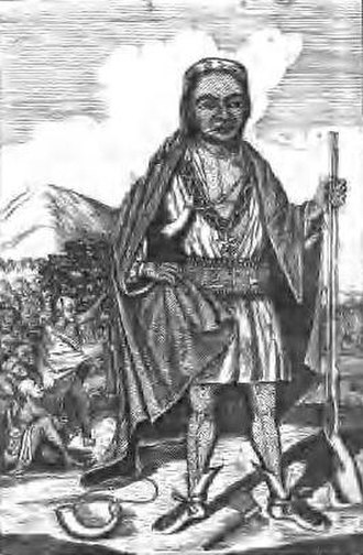 """Metacomet Ridge - """"Philip. King of Mount Hope"""", a 1772 engraving of a caricature of Metacom aka King Philip by Paul Revere"""