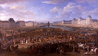Paris in the 17th century - Louis XIV crossing the Pont Neuf (1660)
