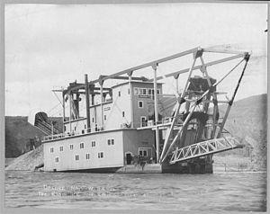 Gold dredge - Gold Dredge, Klondike River, Canada, 1915