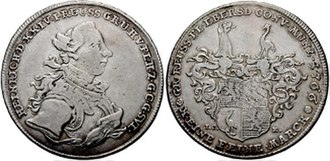 Heinrich XXIV, Count Reuss of Ebersdorf - Thaler from 1766, depicting Heinrich XXIV