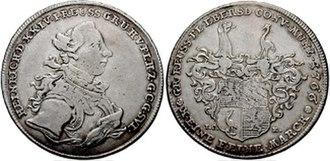 Heinrich XXIV, Count Reuss of Ebersdorf - Thaler from 1766, depicting Heinrich XXIV