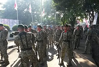 Kostrad - Soldiers of Kostrad with their distinctive camouflage-pattern uniform