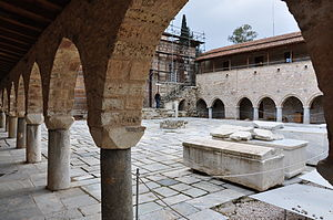 Othon de la Roche - The cloister of Daphni Monastery, where Cistercian monks from Burgundy were settled by Othon in about 1207