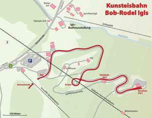 Olympic Sliding Centre Innsbruck - Track map