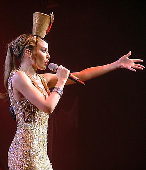 Kylie Minogue albums discography - Minogue performing during the Showgirl: The Greatest Hits Tour in March 2005.