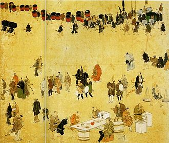 "Sankin-kōtai - Sightseers and merchants gazing at an entourage (sixth panel) from ""Folding Screen Depicting Scenes of the Attendance of Daimyōs at Edo Castle"", National Museum of Japanese History"