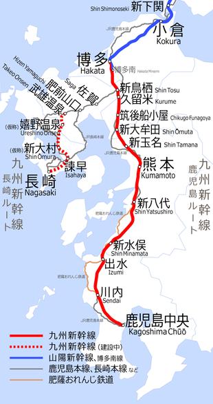 File:Kyushu Shinkansen map Kagoshima route and Nagasaki route.png