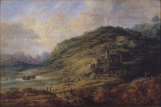 Heuvelig landschap met waterval en kasteel