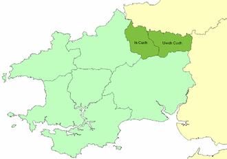 Emlyn - Location of the cantref of Emlyn within ancient Dyfed