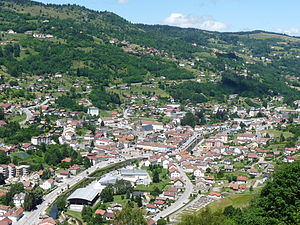 La Bresse - The centre of La Bresse, seen from the Roche du Daval