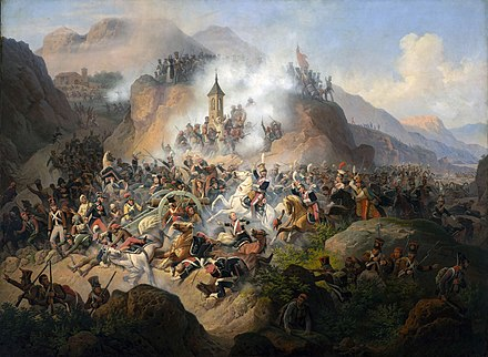 Spanish regular and irregular forces fighting in the Somosierra Pass against a French invading army La batalla de Somosierra, por January Suchodolski.jpg