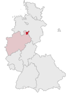 Map of Germany, position of the district of Minden highlighted