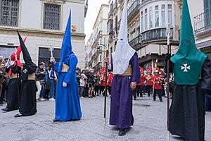 Capirote - Procession of the Reales Cofradías Fusionadas in Malaga, has more than 900 nazarenos