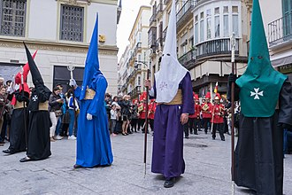 Capirote - Procession of the Reales Cofradías Fusionadas in Malaga, has more than 900 nazarenos