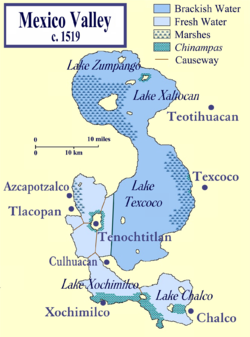 The Valley of Mexico at the time of the Spanish conquest showing the location of lake Tenochtitlan.