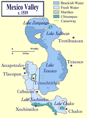 Tlacopan - The Valley of Mexico at the time of the Spanish conquest, showing Tlacopan in relation to Tenochtitlan and other cities in the Valley of Mexico.