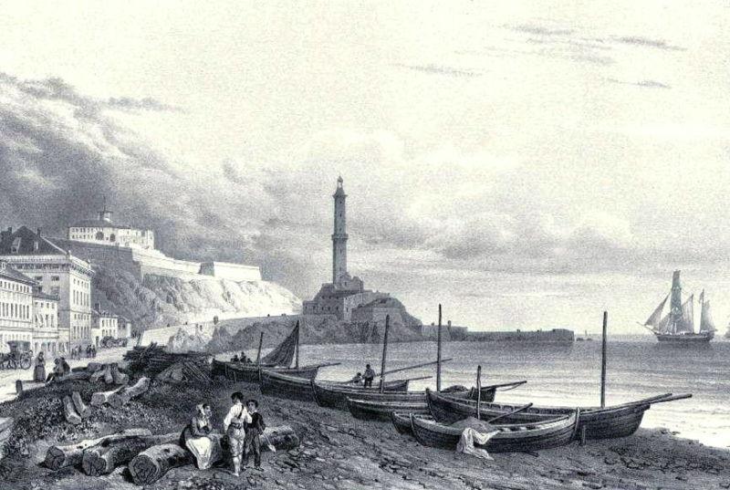 Vue sur le port et la lanterne de Gênes en 1839.