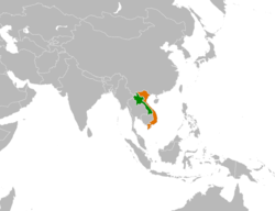 Map indicating locations of Laos and Vietnam