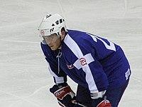 Latvia VS Slovenia at the IIHF World Hockey Championship 2008 - Damjan Dervarič.jpg