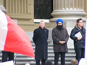 Laurie Hawn & Tim Uppal at the Anti-Coalition Rally 2008 in Edmonton.jpg
