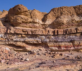 Colorful layers of sedimentary rock in Makhtesh Ramon in Israel